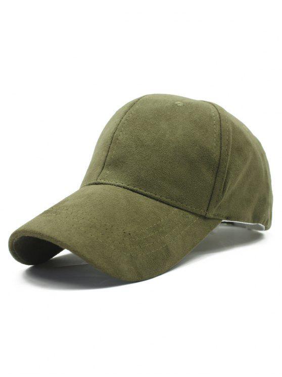 casquette de baseball en couleur unie en faux daim pour plein air - Vert Armée