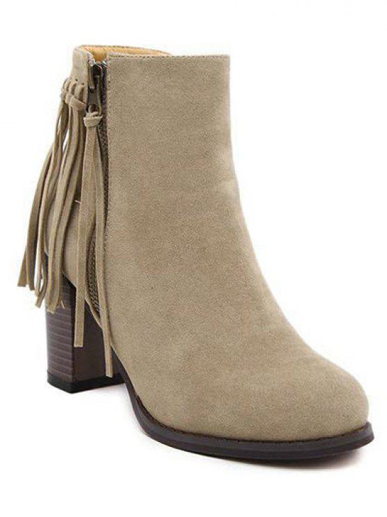 fashion Fringe Side Zip Chuny Heel Ankle Boots - KHAKI 38