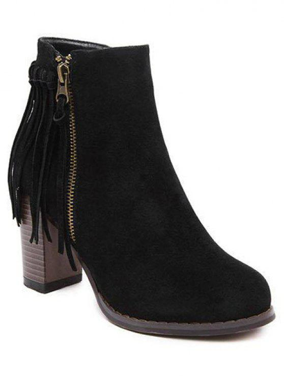 unique Fringe Side Zip Chuny Heel Ankle Boots - BLACK 38