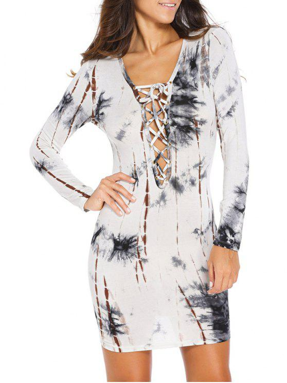 best Lace Up Low Cut Printed Bodycon Dress - WHITE S