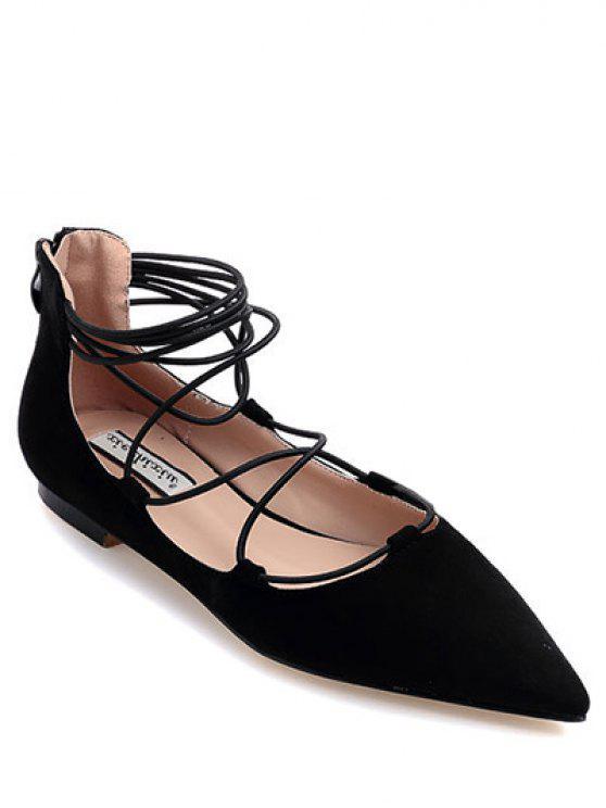 sale Black Criss-Cross Pointed Toe Flat Shoes - BLACK 39