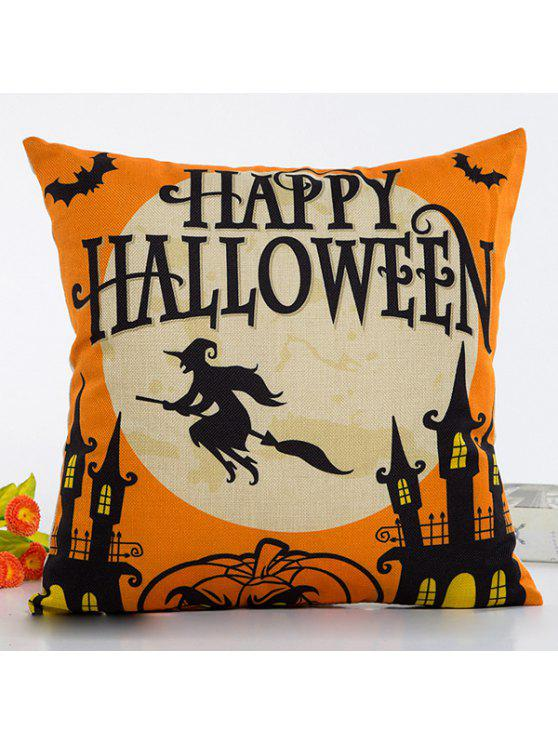 lady Halloween Series Decorative Throw Pillow Cover - BLACK AND ORANGE