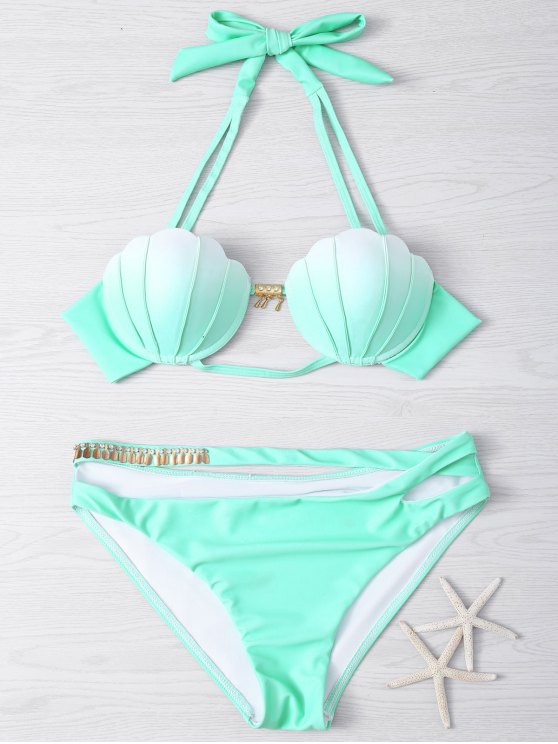 outfit Metal Design Halter Underwire Seashell Bikini - LIGHT GREEN M