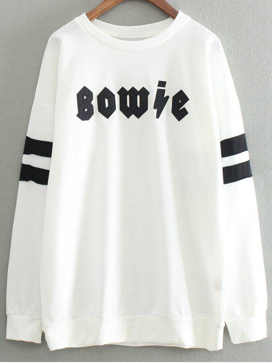 lady Letter Patch Round Neck Pullover Sweatshirt - WHITE ONE SIZE