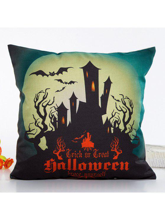 Taie D'oreiller en Lin Design Halloween Maison Claire Fantastique - Rouge et Noir