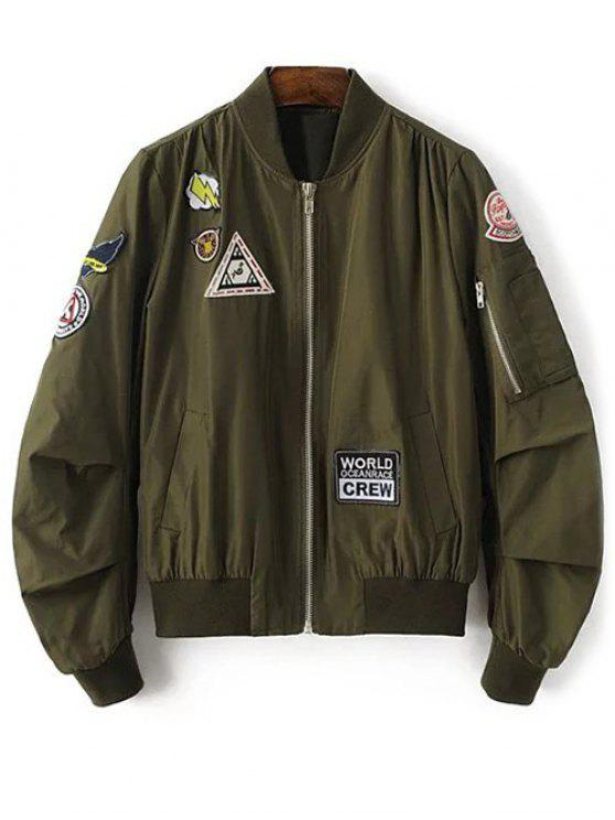 fashion Patch Design Stand Neck Zipper Up Jacket - ARMY GREEN S