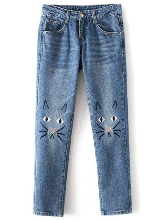 hot Pockets Cartoon Cat Embroidered Jeans - AZURE M