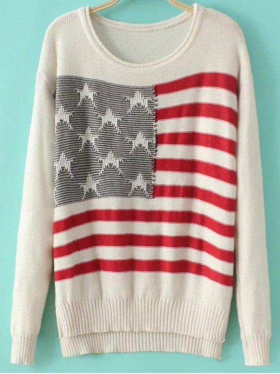 unique Round Neck Flag Print Long Sleeve Sweater - MILK WHITE M