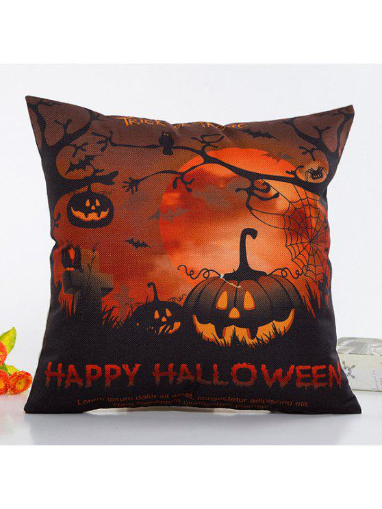 hot Uncanny Halloween Night Pumpkin Face Pattern Pillow Case - BLACK AND ORANGE