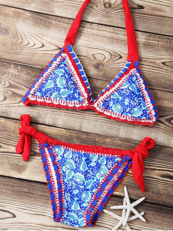 Imprimir De Punto Halter Bikini Conjunto de cuerdas - Azul M