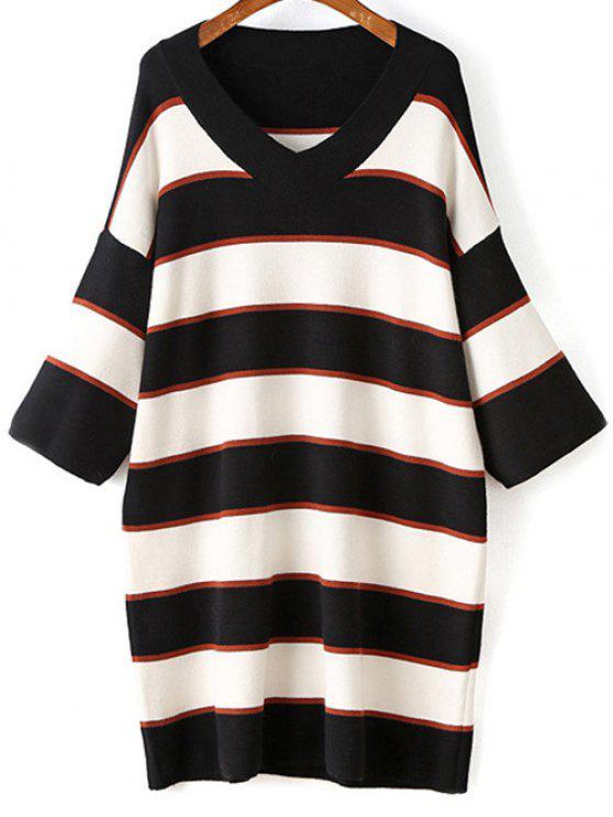 fashion Striped V-Neck Sweater Dress - WHITE ONE SIZE