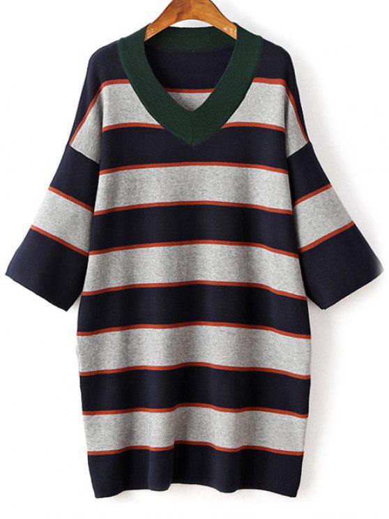 chic Striped V-Neck Sweater Dress - GRAY ONE SIZE