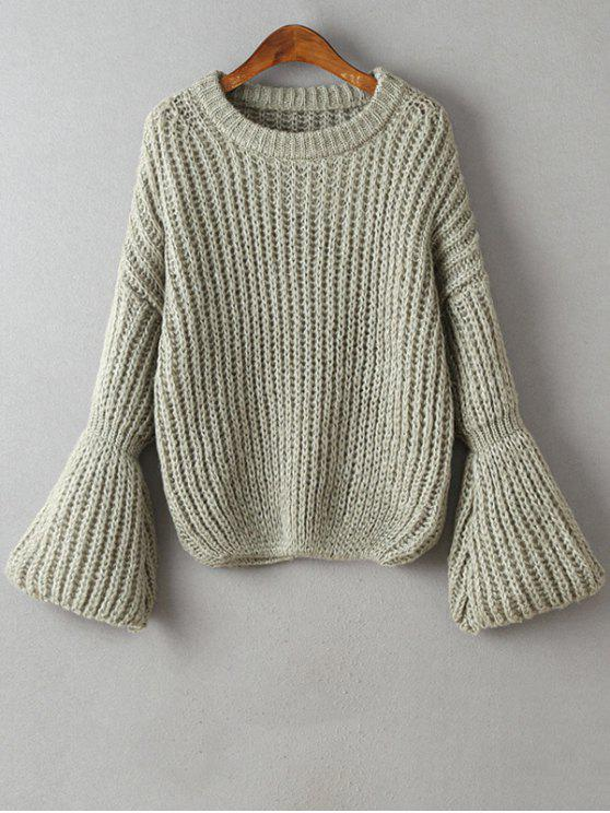 sale Bell Sleeve Chunky Sweater - GRAY ONE SIZE