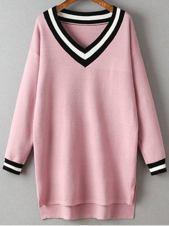 fancy V-Neck Side Slit Sweater Dress - PINK ONE SIZE