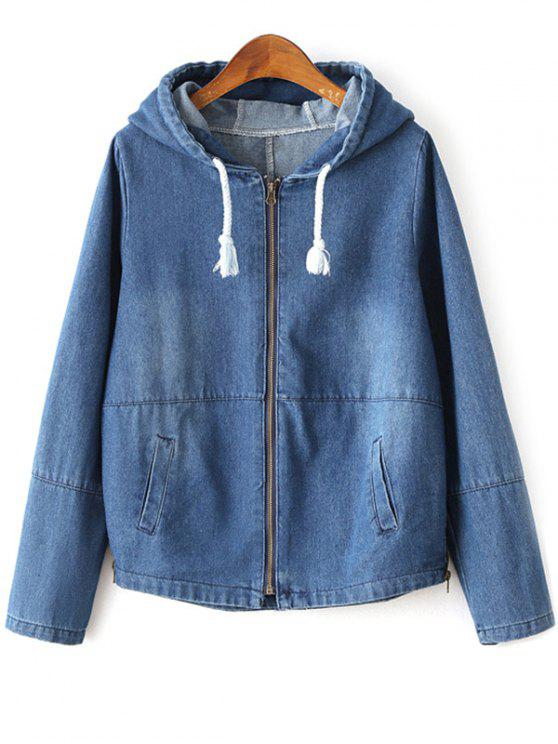 best Zipped Hooded Denim Jacket - DEEP BLUE L