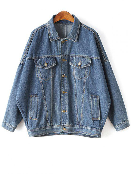outfits Batwing Sleeve Denim Boyfriend Jacket - BLUE L