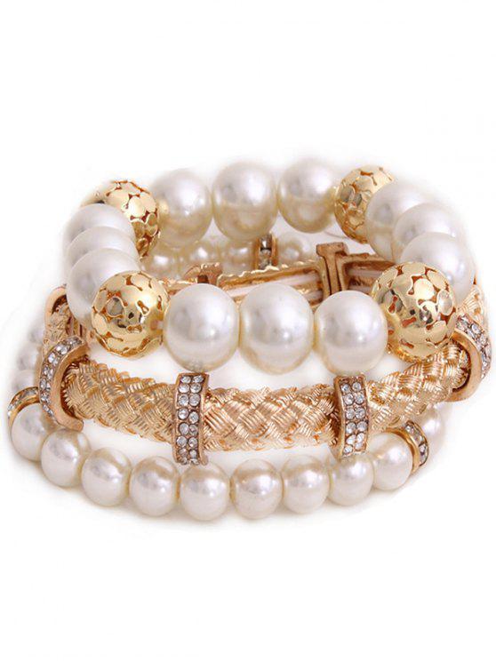 Pulsera del Rhinestone de la perla de Faux de capas múltiples - Dorado