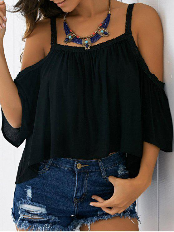 fashion Cold Shoulder Blouse - BLACK M