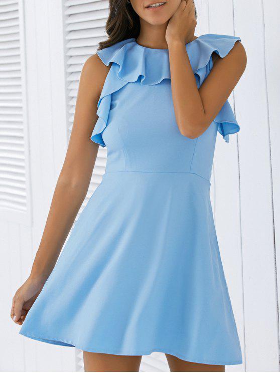 La línea vestido de volante - Azul L
