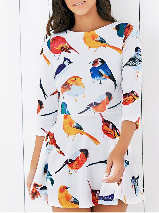 Oiseau Imprimer col rond 3/4 Mini robe à manches - Blanc M