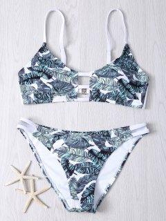 Hollow Out Leaves Print Bikini Set - Xl