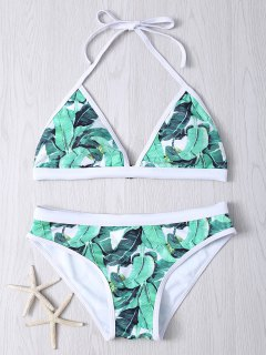 Halter Leaf Printed Bikini Set - Green M