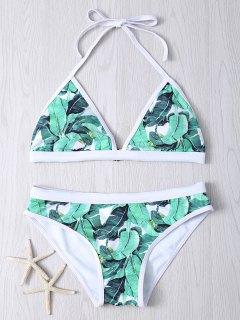 Halter Leaf Printed Bikini Set - Green S
