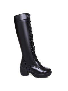 Stylish Front Lace-Up And Chunky Heel Design Knee-High Boots For Women - Black 43