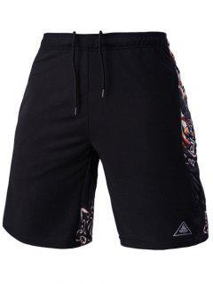 Mesh Design Ethnic Print Lace-Up Straight Leg Sports Shorts For Men - Black L