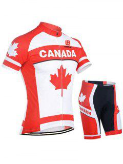 Color Blocks Short Sleeve Jacket + Spliced Shorts Jerseys Twinset For Men - Red With White L