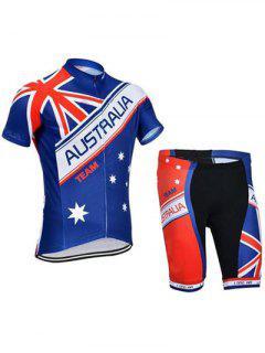 Flag Print Short Sleeve Jacket + Spliced Shorts Jerseys Twinset For Men - Xl