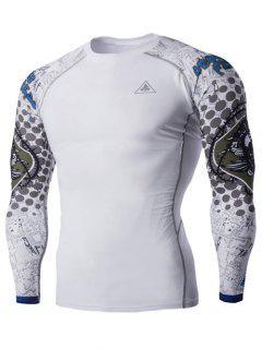 Col Rond 3D Skulls Imprimer Manches Longues Compression T-shirt Pour Les Hommes - Blanc L