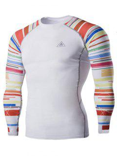 Colorful Stripes Round Neck Long Sleeves Quick-Dry T-Shirt For Men - White M