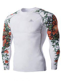 Sports 3D Flower Print Long Sleeves Compression T-Shirt For Men - White Xl