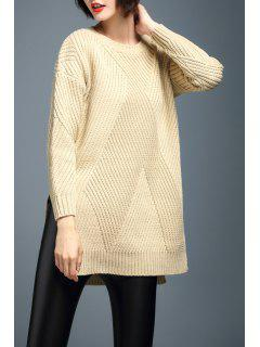 Side Slit Ribbed Chunky Sweater - Beige