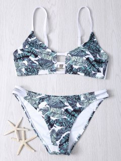 Aushöhlen Blatt Druck Bikini Set - Xl