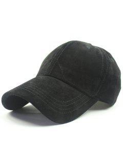 Adjustable Buckle Faux Suede Baseball Hat - Black
