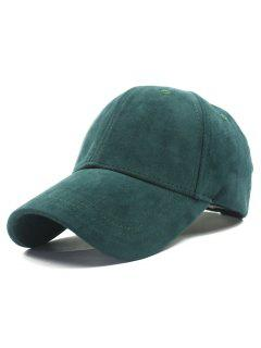 Adjustable Buckle Faux Suede Baseball Hat - Blackish Green