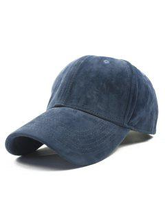 Adjustable Buckle Faux Suede Baseball Hat - Deep Blue