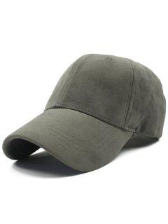 Adjustable Buckle Faux Suede Baseball Hat - Gray