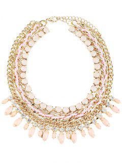 Beaded Rhinestone Necklace - White