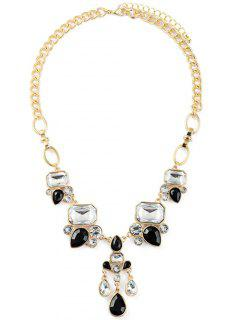 Faux Crystal Water Drop Adorn Necklace - Golden