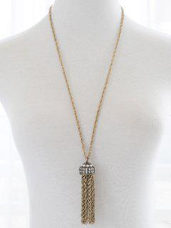 Faux Pearl Rhinestone Sweater Chain - Golden
