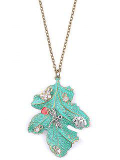 Rhinestone Dragonfly Leaf Sweater Chain - Green