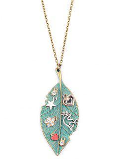 Rhinestone Pentagram Leaf Sweater Chain - Green