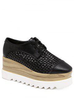 Hollow Out Lace-Up  Platform Shoes - Black 37