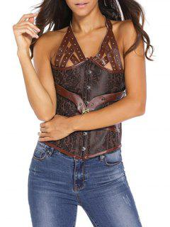 Halter Faux Leather Back Lace Up Corset - Brown S