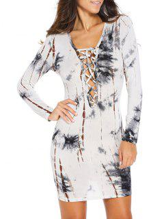 Lace Up Low Cut Printed Bodycon Dress - White M