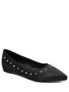 Satin Rivet Pointed Toe Flat Shoes - Black 38