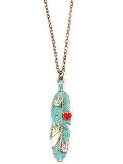 Wing Leaf Heart Sweater Chain - Green